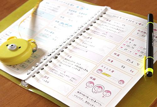 体調食生活記録シート
