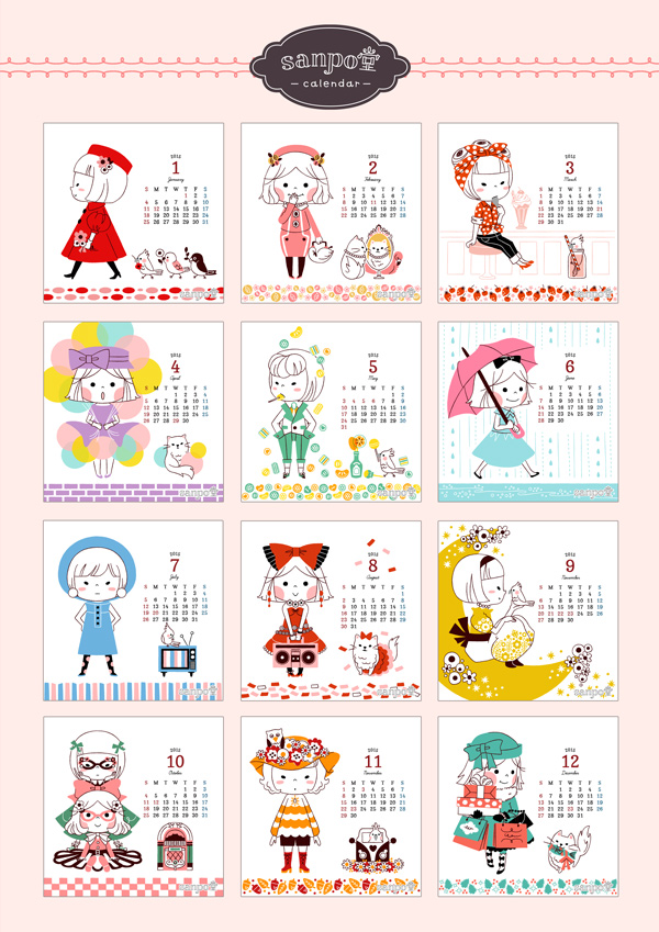 calendar2015_ribbonandganeko-1