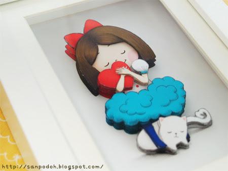 ハートを抱えたリボン3Dアート