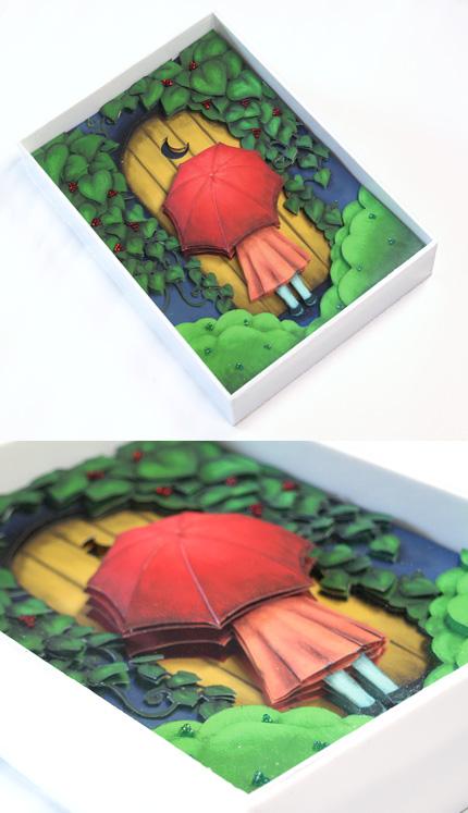 3Dアート:傘と少女とドア